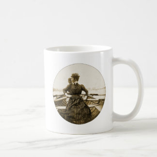 Vintage Retro Women Photo Row Row Row Your Boat Classic White Coffee Mug