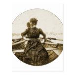 Vintage Retro Women Photo Row Row Row Your Boat Postcards