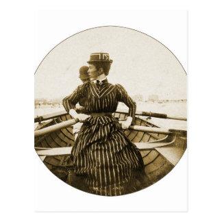 Vintage Retro Women Photo Row Row Row Your Boat Postcard