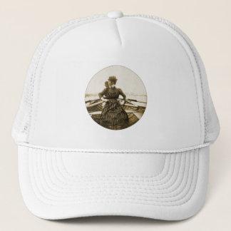 Vintage Retro Women Photo Row Row Row Your Boat Trucker Hat