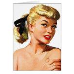 Vintage Retro Women Pin Up Bathing Beauty Portrait Greeting Card