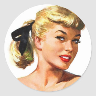 Vintage Retro Women Pin Up Bathing Beauty Portrait Classic Round Sticker