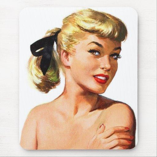 Vintage Retro Women Pin Up Bathing Beauty Portrait Mouse Pad