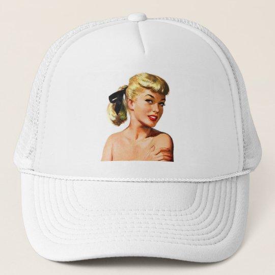 Vintage Retro Women Pin Up Bathing Beauty Portrait Trucker Hat