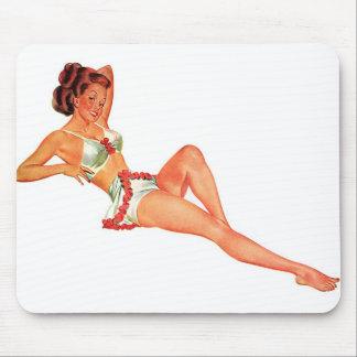 Vintage Retro Women Pin Up Bathing Suit Beauty Mouse Pad