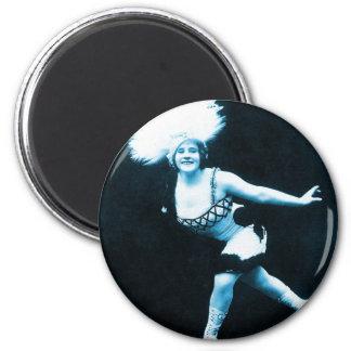 Vintage Retro Women Rollerskating Queen 2 Inch Round Magnet