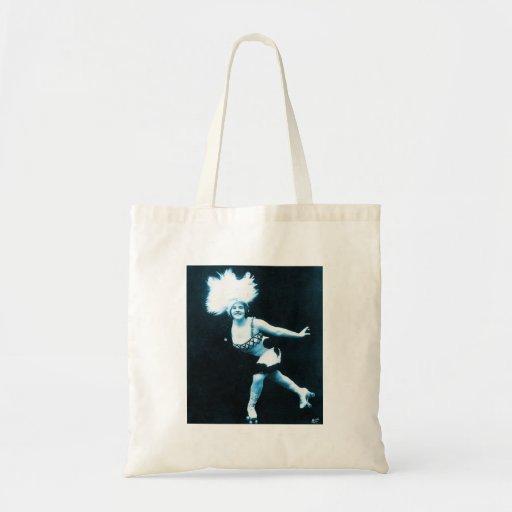 Vintage Retro Women Rollerskating Queen Canvas Bags