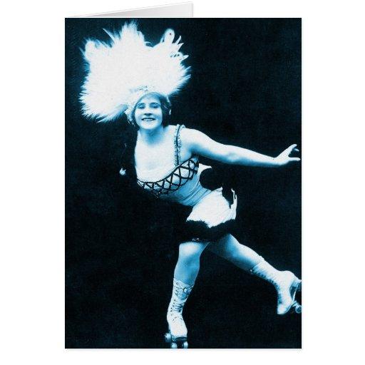 Vintage Retro Women Rollerskating Queen Greeting Card