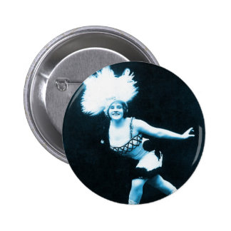 Vintage Retro Women Rollerskating Queen Pinback Button