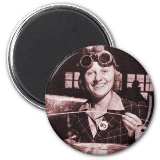 Vintage Retro Women Rosie the Riveter's Sister 2 Inch Round Magnet