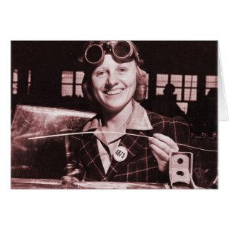 Vintage Retro Women Rosie the Riveter's Sister Card