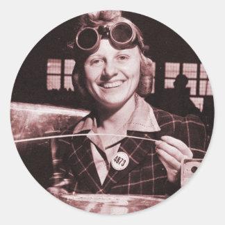Vintage Retro Women Rosie the Riveter's Sister Classic Round Sticker