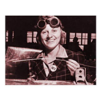 Vintage Retro Women Rosie the Riveter's Sister Postcard