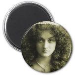Vintage Retro Women Sepia Portrait 20s Woman Magnets