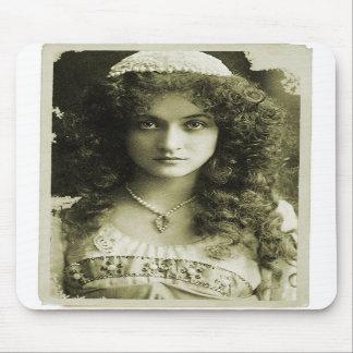 Vintage Retro Women Sepia Portrait 20s Woman Mouse Pads