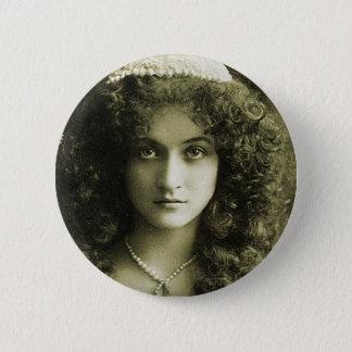Vintage Retro Women Sepia Portrait 20s Woman Pinback Button
