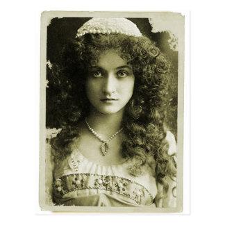 Vintage Retro Women Sepia Portrait 20s Woman Postcard