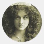 Vintage Retro Women Sepia Portrait 20s Woman Round Sticker