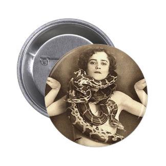 Vintage Retro Women Sideshow Snake Charmer 2 Inch Round Button