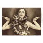 Vintage Retro Women Sideshow Snake Charmer Card