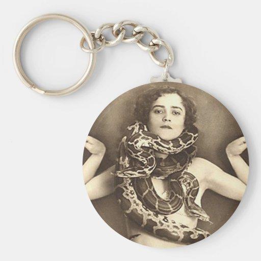 Vintage Retro Women Sideshow Snake Charmer Keychain