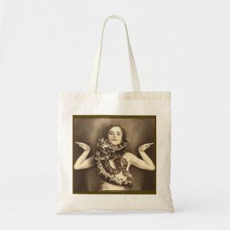 Vintage Retro Women Sideshow Snake Charmer Tote Bag