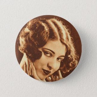 Vintage Retro Women Silent Film Star Button