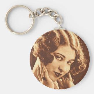 Vintage Retro Women Silent Film Star Keychain