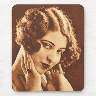 Vintage Retro Women Silent Film Star Mouse Pad