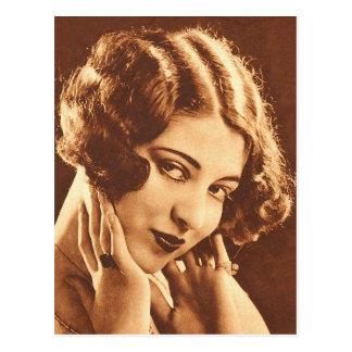Vintage Retro Women Silent Film Star Postcard