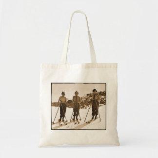 Vintage Retro Women Skiing 'Ski Bums 1942' Canvas Bags