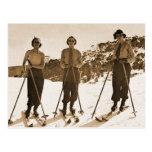 Vintage Retro Women Skiing 'Ski Bums 1942' Postcard