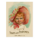 Vintage Retro Women Soaps & Perfumes Girl Post Card