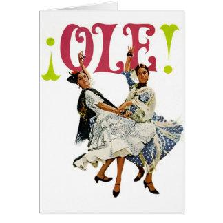Vintage Retro Women Spainish Flamenco Dancers Ole! Card