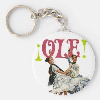 Vintage Retro Women Spainish Flamenco Dancers Ole! Keychain