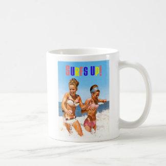 Vintage Retro Women Surfs Up Beach Girls Classic White Coffee Mug