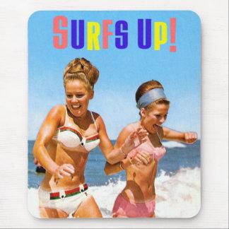 Vintage Retro Women Surfs Up Beach Girls Mouse Pad