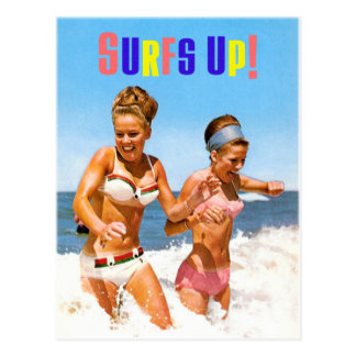 Vintage Retro Women Surfs Up Beach Girls Postcard