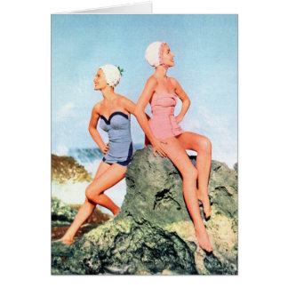 Vintage Retro Women Swimsuits and Swim Caps Too! Greeting Card