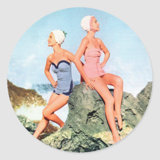 Vintage Retro Women Swimsuits and Swim Caps Too! Classic Round Sticker