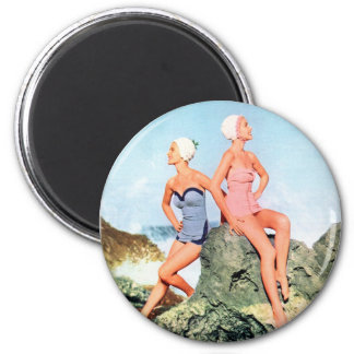 Vintage Retro Women Swimsuits and Swim Caps Too! Magnet