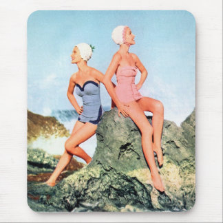 Vintage Retro Women Swimsuits and Swim Caps Too! Mouse Pad