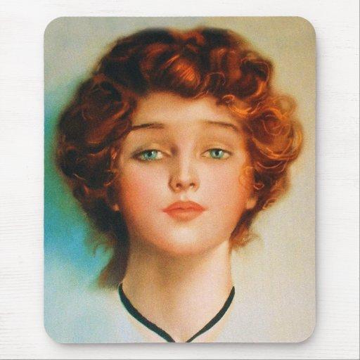 Vintage Retro Women Thirties Beauty Portrait Mouse Pad