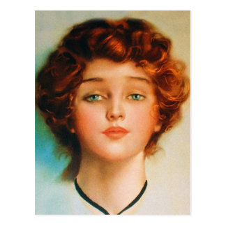 Vintage Retro Women Thirties Beauty Portrait Postcard
