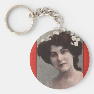 Vintage Retro Women Trading Card Miss Kitty Mason Basic Round Button Keychain