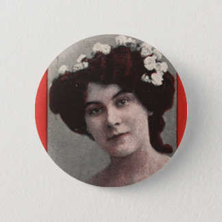 Vintage Retro Women Trading Card Miss Kitty Mason Pinback Button