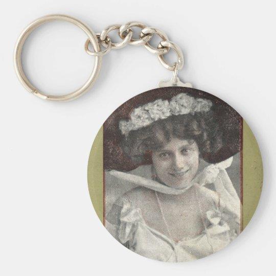 Vintage Retro Women Trading Card Miss Leonhardt Keychain