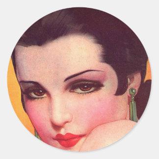 Vintage Retro Women Twenties Pin Up Vamp Classic Round Sticker