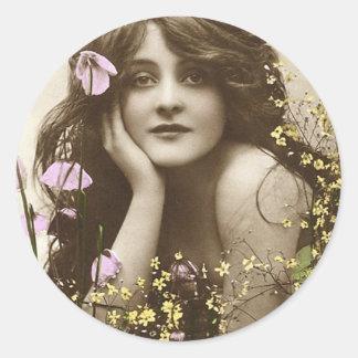 Vintage Retro Women Victorian Flower Girl Classic Round Sticker