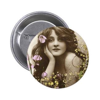 Vintage Retro Women Victorian Flower Girl Pinback Button